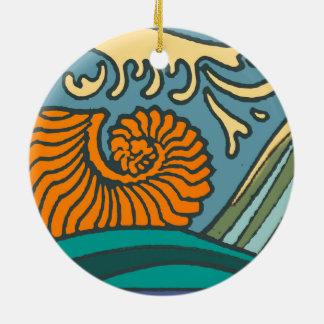 Ornamento De Cerâmica Ondas de oceano azuis brilhantes