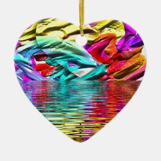 Ornamento De Cerâmica Ondinhas florescentes legal da água do abstrato do