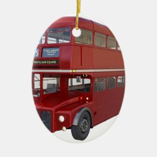 Ornamento De Cerâmica Ônibus vermelho do autocarro de dois andares no