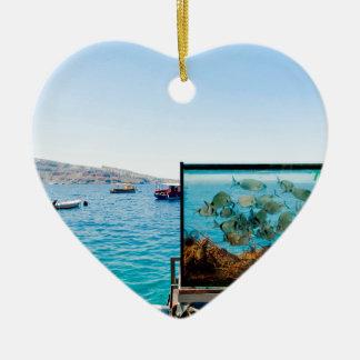Ornamento De Cerâmica Opinião bonita do mar de Santorini