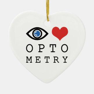 Ornamento De Cerâmica Optometria do coração do amor do olho - carta de