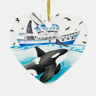 Ornamento De Cerâmica Orca e o barco