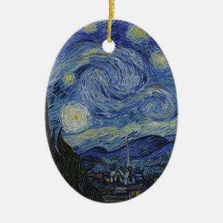 Ornamento De Cerâmica Original a pintura da noite estrelado