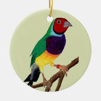 Ornamento De Cerâmica ~ original da arte do ~ do passarinho de Gouldian