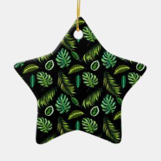 Ornamento De Cerâmica Original original verde legal da floresta da palma