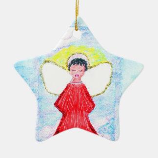 """Ornamento De Cerâmica """"Ornamento da estrela do brilho pequeno do anjo de"""