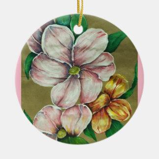 """Ornamento De Cerâmica """"Ornamento das flores cor-de-rosa"""""""