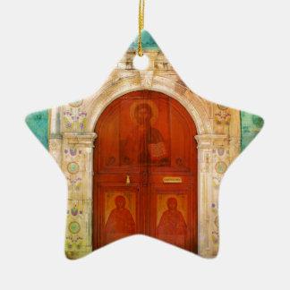 Ornamento De Cerâmica Ortodoxo grego da porta pintado mão do ícone do