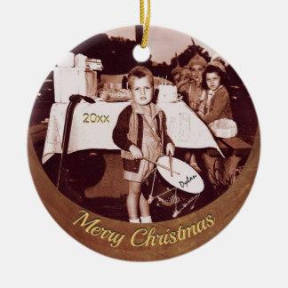 Ornamento De Cerâmica Os anos 30 pequenos do menino c do baterista da