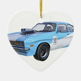Ornamento De Cerâmica os anos 70 azuis e carro branco do músculo
