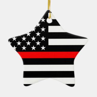 Ornamento De Cerâmica Os EUA embandeiram a linha vermelha fina preto e