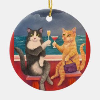 Ornamento De Cerâmica Os gatos do brinde