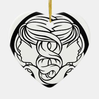 Ornamento De Cerâmica Os Gêmeos juntam o sinal da astrologia do zodíaco