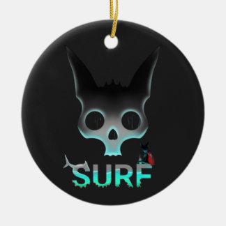 Ornamento De Cerâmica Os grafites urbanos do surf refrigeram o gato