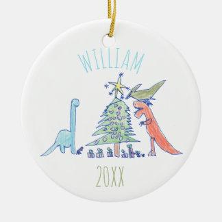 Ornamento De Cerâmica Os miúdos personalizaram o Natal do feriado do