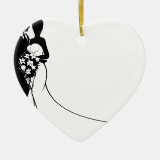 Ornamento De Cerâmica Os noivos florescem a silhueta do casamento