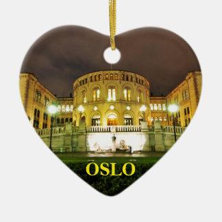Ornamento De Cerâmica Oslo, Noruega na noite