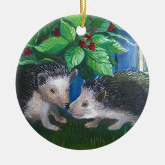 Ornamento De Cerâmica Ouriços na pintura a óleo do amor