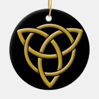 Ornamento De Cerâmica Ouro clássico em Tri-Quatra preto