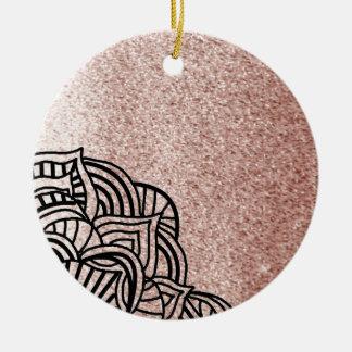 Ornamento De Cerâmica Ouro cor-de-rosa com medalhão preto
