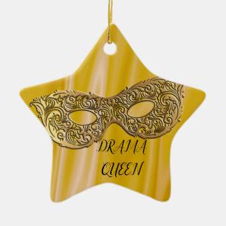 Ornamento De Cerâmica Ouro da máscara do mascarada da rainha | do drama