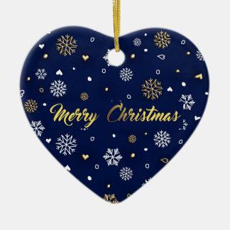 Ornamento De Cerâmica Ouro do Feliz Natal & flocos de neve brancos