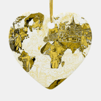 Ornamento De Cerâmica ouro do mapa do mundo