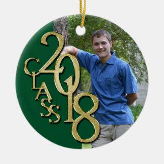 Ornamento De Cerâmica Ouro e classe verde da graduação da foto 2018