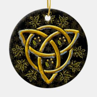 Ornamento De Cerâmica Ouro elegante do fosco Tri-Quatra em flocos de