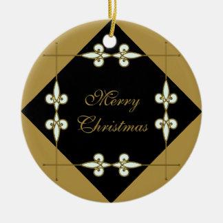 Ornamento De Cerâmica Ouro festivo/preto de Nouveau da arte do vintage
