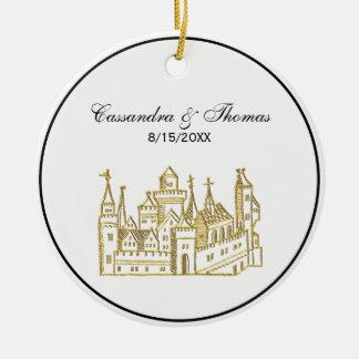 Ornamento De Cerâmica Ouro heráldico do falso da crista do castelo #2 do