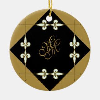 Ornamento De Cerâmica Ouro/preto de Nouveau da arte do vintage do