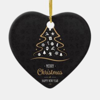 Ornamento De Cerâmica Ouro preto superior elegante do Natal