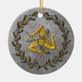 Ornamento De Cerâmica Ouro siciliano e prata de Trinacria da herança
