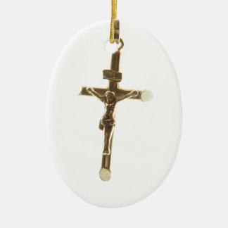Ornamento De Cerâmica Ouro transversal do Jesus Cristo horizontal