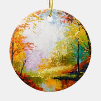 Ornamento De Cerâmica Outono dourado
