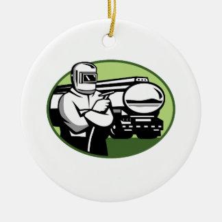 Ornamento De Cerâmica Oval do caminhão de petroleiro do soldador do Tig