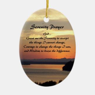 Ornamento De Cerâmica Oval do por do sol do Seascape da oração da