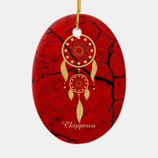Ornamento De Cerâmica Oval vermelho Oranament do Chippewa