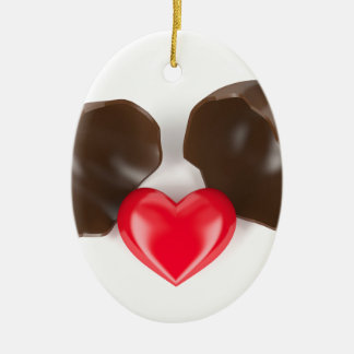 Ornamento De Cerâmica Ovo e coração de chocolate