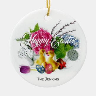 Ornamento De Cerâmica Ovos da páscoa da aguarela, patinhos & flores do