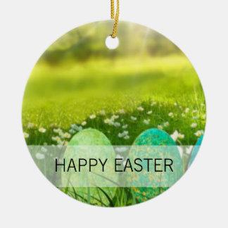 Ornamento De Cerâmica Ovos da páscoa em verdes e em azuis do primavera