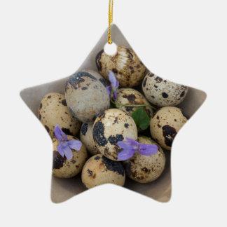 Ornamento De Cerâmica Ovos de codorniz & flores 7533
