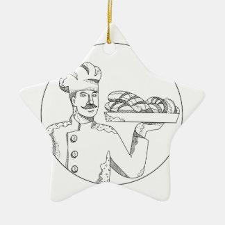 Ornamento De Cerâmica Padeiro que guardara o pão na arte do Doodle da