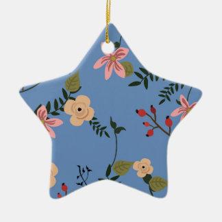 Ornamento De Cerâmica Padrões florais retros em um fundo azul