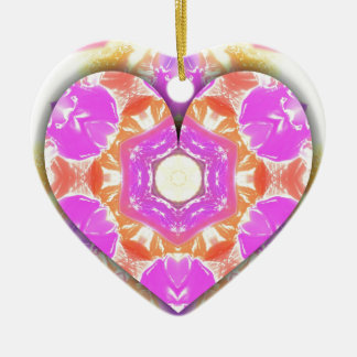 Ornamento De Cerâmica Padrões legal do pêssego da lavanda do coração 3d
