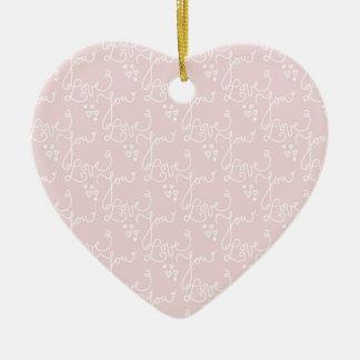 Ornamento De Cerâmica Padrões sem emenda com amor você texto e corações