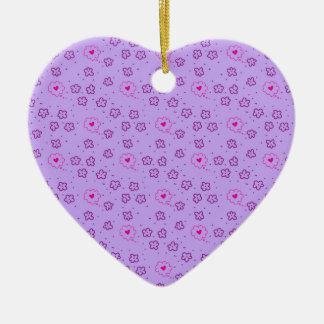Ornamento De Cerâmica Padrões sem emenda com flores e corações