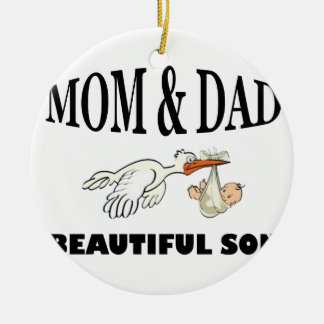 Ornamento De Cerâmica Pai da mamã e filho bonito