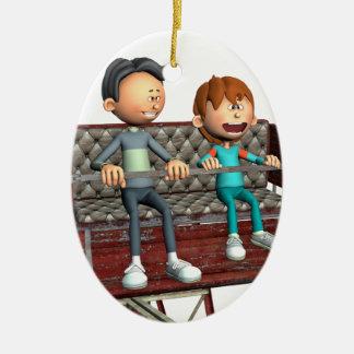 Ornamento De Cerâmica Pai e filho dos desenhos animados em uma roda de